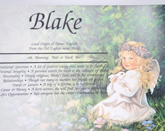 GIRLS PERSONALIZED GIFT  First Name Meaning Angel Girl Print Gift 8.5 X 11 Ships Free  in 24 hrs