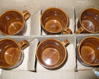 Housewarming Gift For Couples, Vintage Mugs, Brown Coffee Cups, Tam Coffee Cups and Saucers