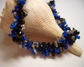 Necklace, silver, black and royal blue, summer nights, blue, handmade in Nova Scotia, blue glass beads, sparkle, night sky, crochet, soft