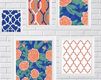 Carnation Flowers print -Collage Wall Art Gallery - Set of (5) - Prints - (1) 11x14,(2) 8x10, (1) 5x7 (1) 4x6