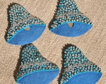 Vintage Blue Felt Wedding Bells with Sequins Set of 4