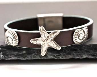 Summer Bracelet , Seaside Bracelet , Silver Bracelet , Leather Bracelet ,  Starfish Bracelet , Seashell Bracelet , Beach Jewelry ,  Amy Fine
