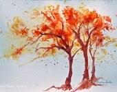 Marsala Tangerine orange Trees - colorful windblown watercolor 8x10 giclee print - bright bold golden purple colors