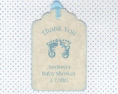20 Baby Thank You Tags / Baby Shower Tags / Baby Boy Tags / Baby Footprints Tags / Shower Favor Tag / Escort Tags - Vintage Style