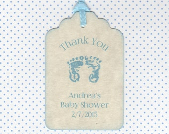 Baby Shower Tags, Thank You Tags For Baby Showers, Baby Shower Boy Footprint Tags, Shower Favor Label Tags - Set of 20