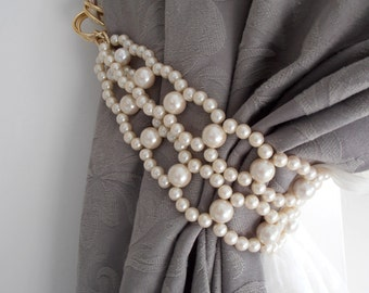 SET OF 2 Decorative tie backs with faux pearls, curtain holders, drapery holders