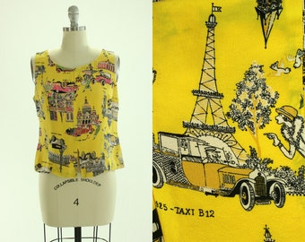 80's Classic Cars Stylish Ladies Novelty Print Blouse M L Eiffel Tower Flapper