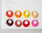 Enamel Earrings, Titanium Earwires, Modern Jewelry, Orange, Red, Pink, Yellow, Maroon, Wine, Nickel Free Sterling Silver, Mod, Autumn, Fall