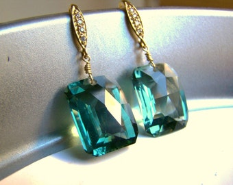 Pave Green Amethyst Gold Earrings. Elegant jewelry. Gift for her. Statement
