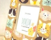 Little Kitty Wood Picture Frame, Square Photo Frame, Kittens Picture Frame, Kids Room Decor, Cat Image Picture Frame, Fun Cat Faces Tabletop