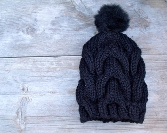 Black Cable Knit Hat with Fur Pom Pom, Oversized Slouchy Beanie, Women's Winter Hat, Pom Pom Hat, Faux Fur Pom Pom, Winter Accessories