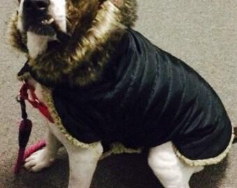 Hooded faux fur trimmed Waterproof Black Quilt Sherpa Lined  Dog Winter Jacket, Dog Coat, Dog Jacket, Dog Jackets