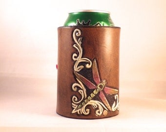 Tooled leather Dragonfly Koozie
