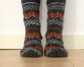 Hand Knit Wool Socks Fox Foxy Socks Grey Orange White Winter Fair isle