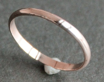14K Solid ROSE Gold Ring - 2mm Simple Band - Classic Wedding Band (Size 2 - 10)