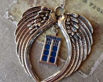 Doctor Who Tardis and Angels Necklace