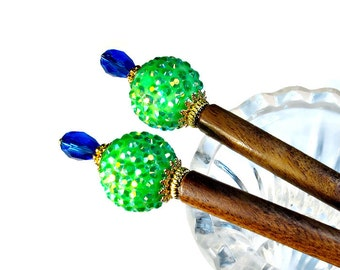 Hairsticks,  Hair Chop Sticks,  Hair Sticks, Lime Green and Blue Accessories,  PAIR