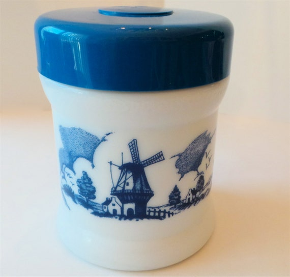 Milk Glass Canister Cookie Jar With Lid Blue By