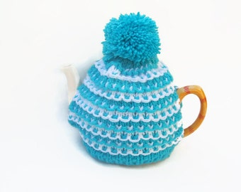 tea pot  cozy hand knitted  cosie aqua and white wool  medium pot uk seller