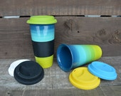 Peacock Ombre Large Ceramic Travel Mug with Silicone Lid - Colorful Gradient Design - Pick Lid Color - Shades of Chartreuse, Lime and Teal