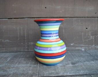 Mother's Day Medium Ceramic Vase - Bright Rainbow Colored Stripes - Flared Rim - Cherry Red Interior