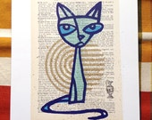 Pouty Puss LitKids Dictionary Cat Print, Teal
