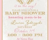Angel Wings Baby Shower Invite -  DIY Digital, Printable Party INVITATION - 4x6 or 5x7