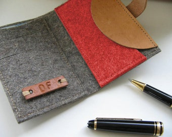 Minimalist Wool felt wallet - pocket size -monogrammed Leather tag - Great Gift for guys.