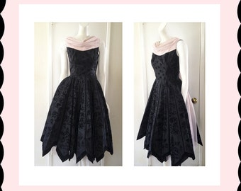 Vintage pink & black taffeta and velvet flocking party dress sz S VLV