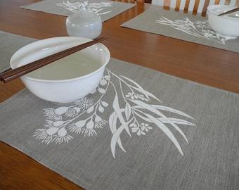 Screen Printed Linen Place Mats Eucalypt Design (set of 4)