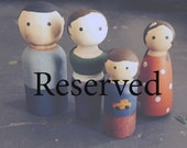 Reserved for Erin -- Wood Peg Family of 5