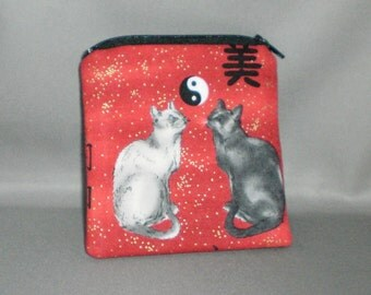 Cats - Yin Yang Coin Purse - Mini Wallet - Card Case - Small Padded Zippered Pouch