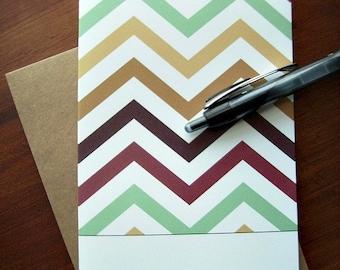 Love Note Cards - Chevron Stationery Set, Modern Valentines, Chevron Love Notes, Brick Red Brown Green Yellow Chevron, Friendship Love