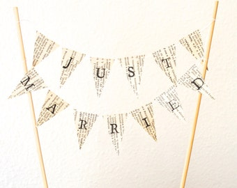 JUST MARRIED Hand Stamped Wedding Cake Topper Garland, mini vintage book or map paper bunting - custom colors available