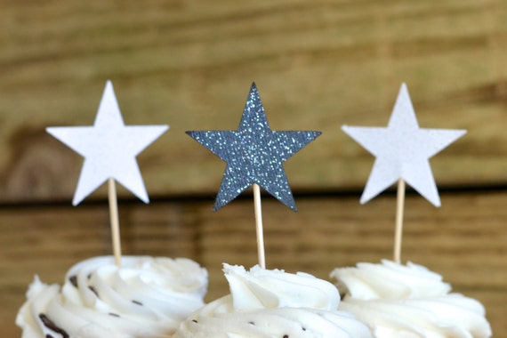 Silver and Black Star Cupcake toppers, 12 pieces