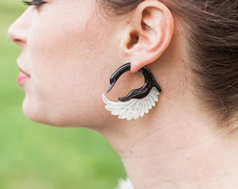 Fake Gauges, Handmade, Horn Earrings, Cheaters, Organic, Plugs, Split, Tribal Style - Sankofa Shell Wings  MOP Horn
