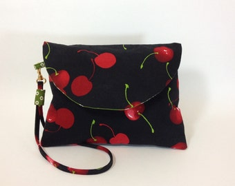 Little Black Evening Bag - Black Clutch with Red Cherries - Unique Gift Ideas for Women - Handmade Bags & Purses - Small Black  Purse
