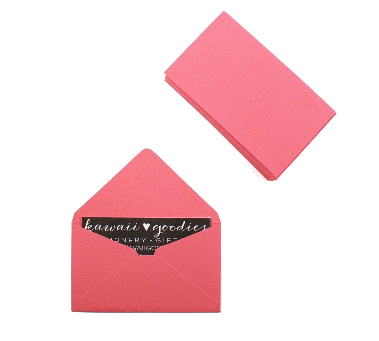 Business card envelopes 25 coral pink envelopes by