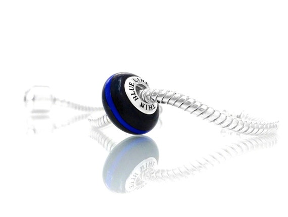 Thin blue line police charm exquisite italian by for How much does pandora jewelry pay