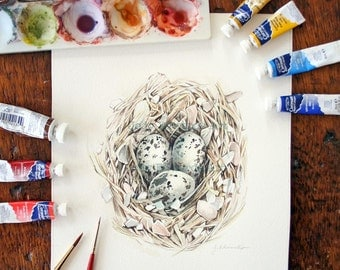 Nest painting - Shorebird nest - Three Eggs