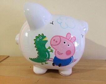 Personalized Large  Peppa. Piggy  Bank-Newborns , Girls , Boys, Birthday Baby Shower Gift Centerpiece