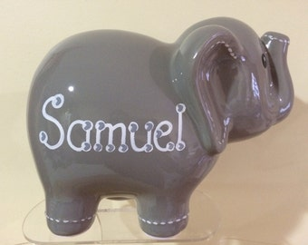 Personalized Large Gray elephant Piggy  Bank Newborns , Birthday,Girls,Flower Girl,Baby Shower Gift Centerpiece