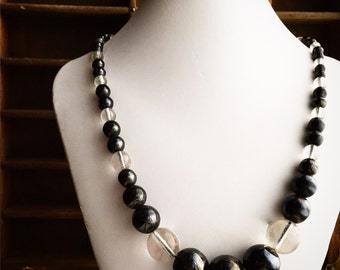 Large Glass Beaded Necklace / Vintage / Black and Transparent / Beautiful Raw Looking Glass Beads