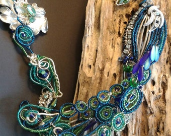 In all his glory, Peacock bead work necklace one of a kind, recycled, upcycled, mixed media art, Collar ,Peacock