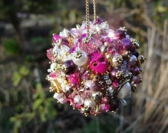 Ornament Magenta Gold Pink Art Piece OOAK Vintage Jewelry Assemblage