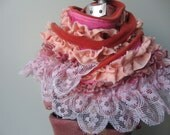 Sassy Fabric Scarf, Mori Girl Clothing Pink Lace Scarf Ruffle Scarf, Upcycled Clothing Boho Scarf, Country Chic Clothing, Tattered Boa Scarf