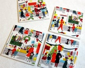 RESERVED For ANNE - Retro Christmas Coasters - MCM Main Street Shoppers, ect. - Ceramic Tiles & Fabric - Six Sets of 4 ea.