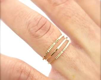 Gold Ring Band, Stackable gold Ring, Trendy Ring, Triple Ring, Classic Jewelry, Engagement Ring, Handmade Jewelry, Unique Jewelry, Rings