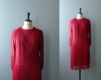 Vintage fringed dress. 1960s flapper style dress. Red party dress