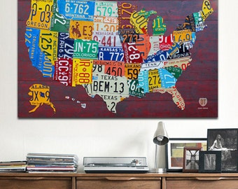 "License Plate Map Art of the United States 48"" x 32"" Metal PRINT"